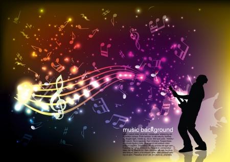 remix: guitarist on music background