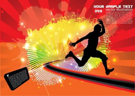 running man op grunge achtergrond Stock Illustratie