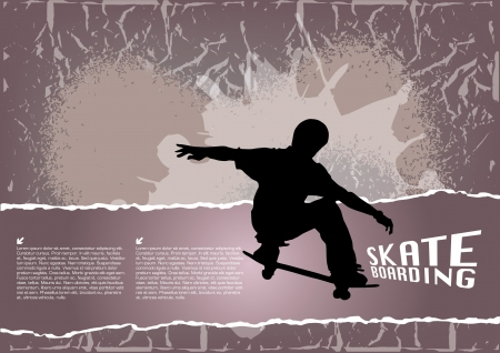 high jump: grunge skateboarding background