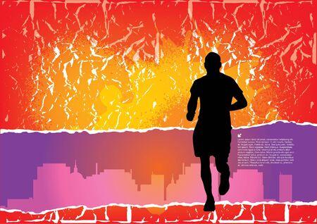 running man on city background  Vector