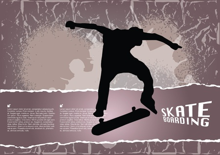 grunge skateboarding background Stock Vector - 15382048