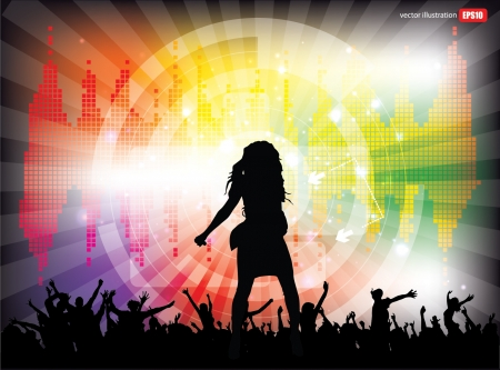 pop star on tech party background  Vector