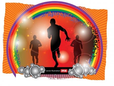 control of body movement: running men background  Illustration