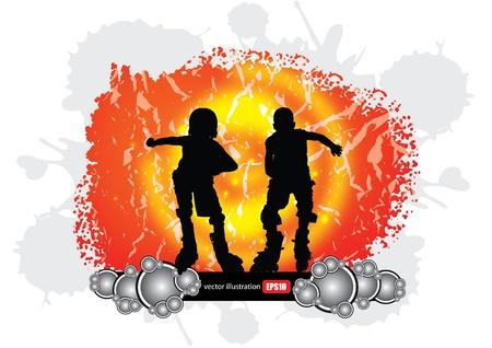 roller skates: two roll skate boys  Illustration