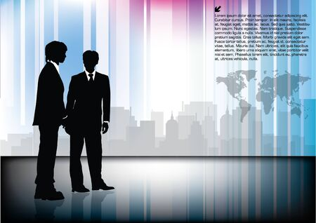 business people on technical background  Vector