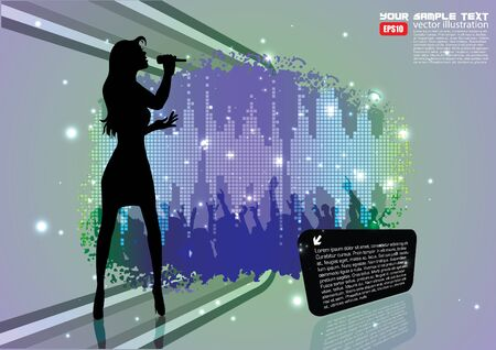 singer on abstract background  Vector