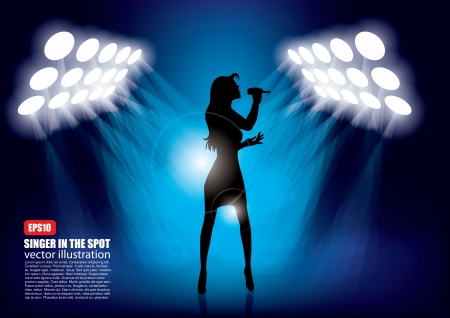 stage performer: woman shape in spot lights