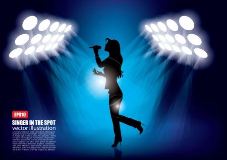 woman shape in spot lights