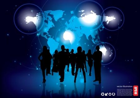 business team on blue business background  Ilustracja