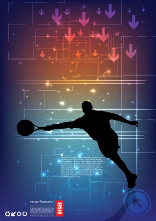 tennis player on abstract background  Vector