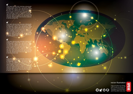 world globe tech background  Stock Vector - 15934440