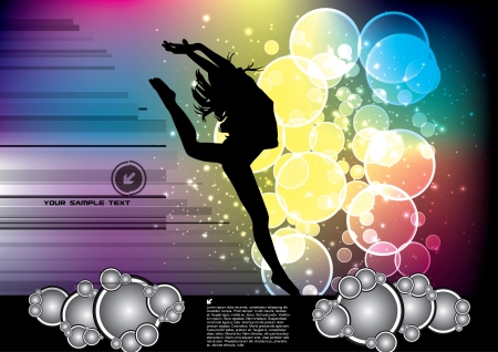 acrobatic: woman dancing background  Illustration