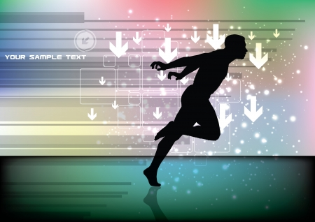 gagnants: coureur sur fond technologie Illustration