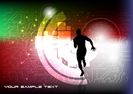 runner on tech background  Vector
