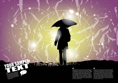 horizon over land: woman with umbrella background  Illustration