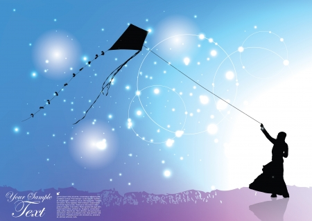 girl with a kite Stock Vector - 16029658