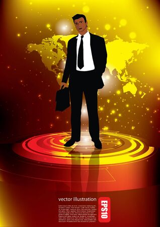 news background: businessman on abstract background