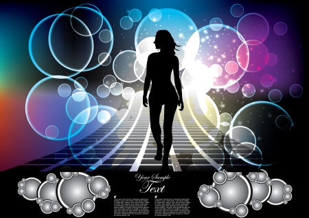 enjoyment: woman silhouette on dream background  Illustration