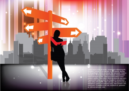 woman and the signpost  Vector