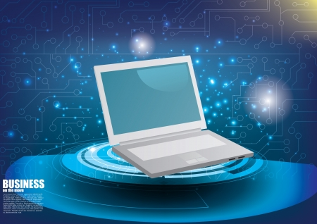 e book: computer device on tech background