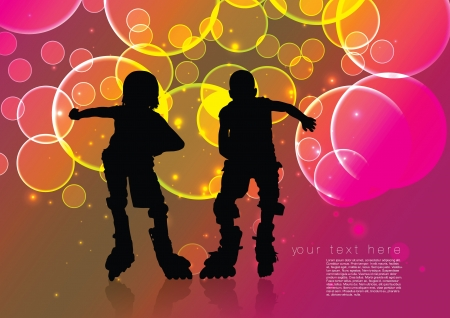 two roll skate boys  Vector