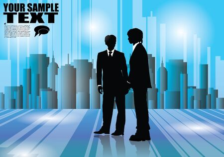 business people team in the city Stock Vector - 16524617
