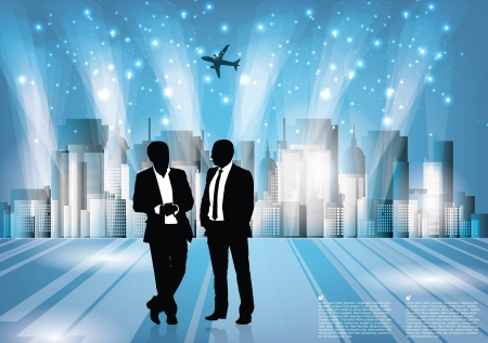 businessmen on city background  Vector