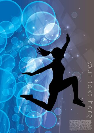 jumping woman on dynamic background Stock Vector - 16524657