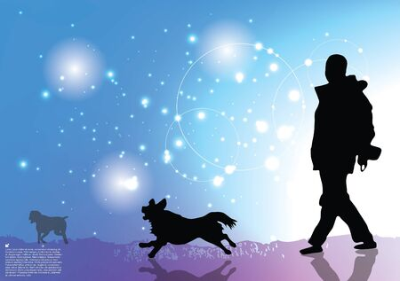 dog walker: man walking with dog