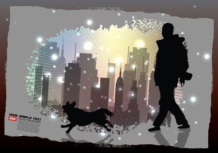 dog walker: walk the dog on city background  Illustration