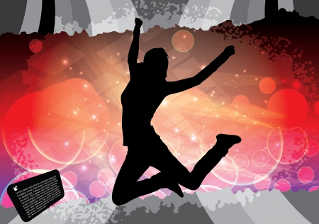 jumping woman background Stock Vector - 16524655