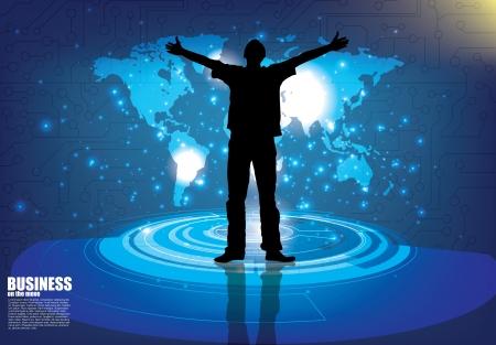 alabando a dios: Un hombre con los brazos levantados al cielo Vectores