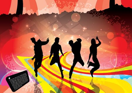 Party Dancers Background  Vector