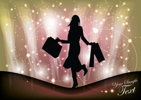 dress sketch: shopping woman background  Illustration