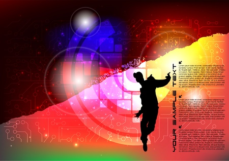 Break Dancing colorful Musical Event Background  Vector