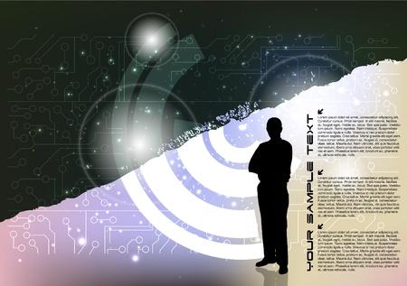 man on futuristic background Stock Vector - 16833091