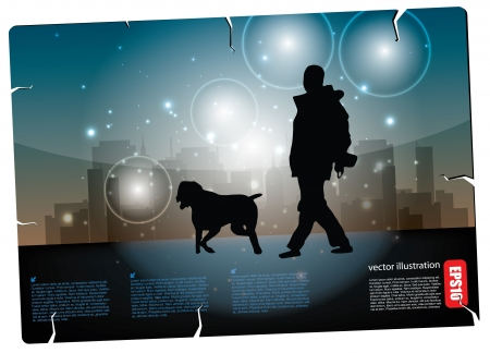 dog walking: man walking with dog postcard  Illustration