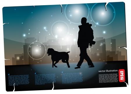 dog walker: man walking with dog postcard  Illustration