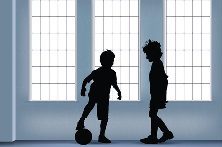 garçons jouant au soccer intérieur Vecteurs