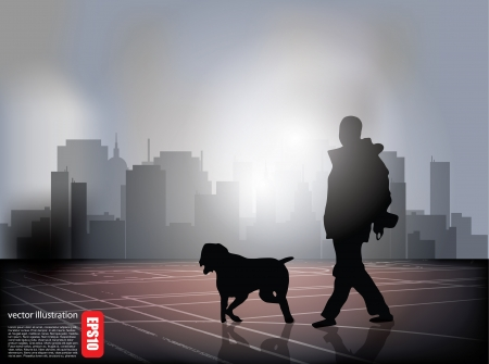 city man: man walking with dog in city suburbs