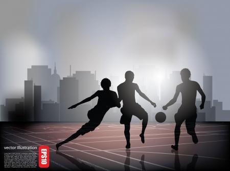 boys soccer: boys playing football background  Illustration