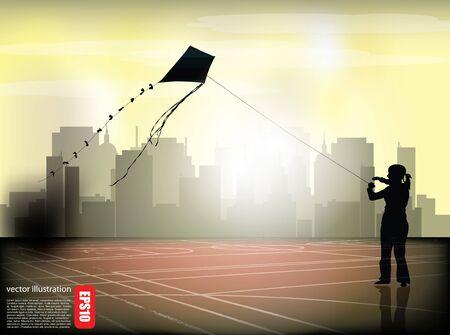 girl with kite on city suburbs  Stock Vector - 16833081