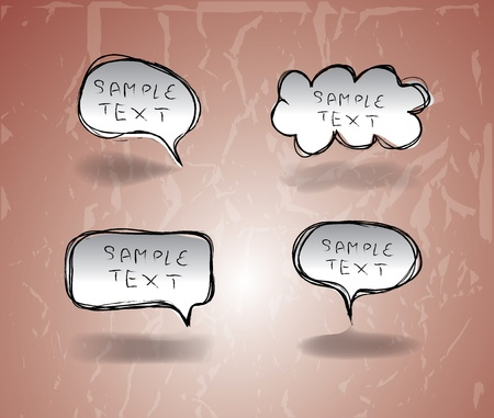 Set of Hand drawn  Comical Speech Bubbles Stock Vector - 16833099