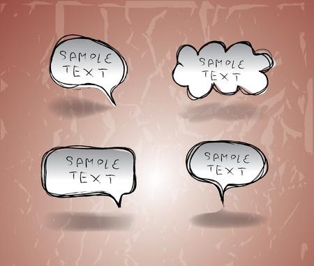 converse: Set von Hand gezeichnet Comical Speech Bubbles