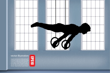 hang body: Gymnast,  background  Illustration