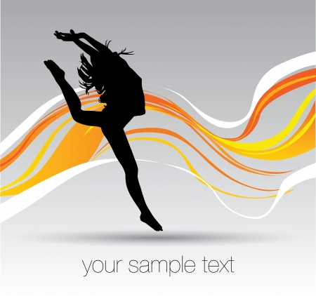 woman dancing in the waves  Illustration