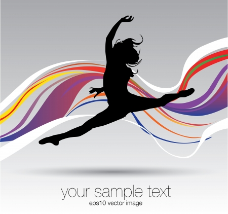 woman dancing in the waves  Vector