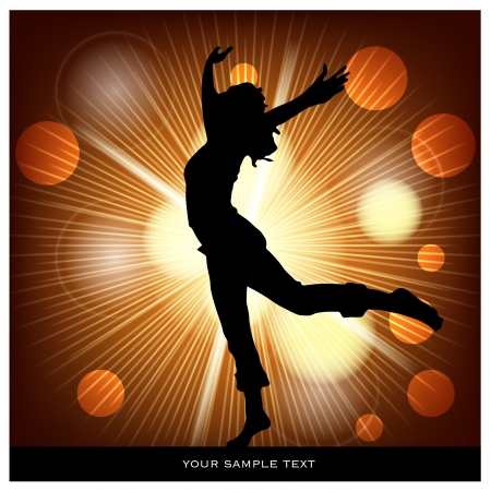 ray tracing: dancing woman on abstract background