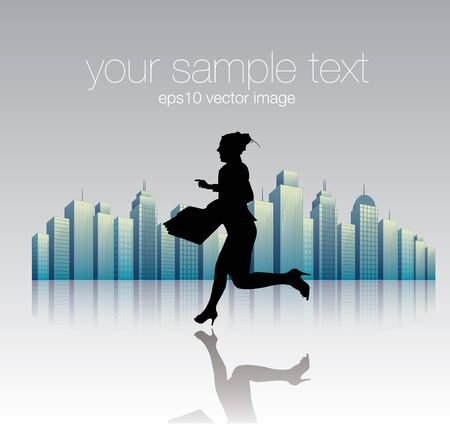running woman and the city  Stock Vector - 16933292