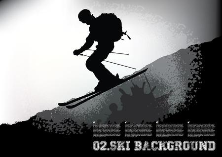 spattered: skier poster concept  Illustration